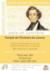 Chœur de l'Oratoire, affiche du concert de juin 2017